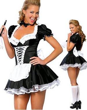 ML5034 Бесплатная доставка, высокое качество, сексуальная взрослая женщина, 2 шт., Поздняя Ночь, Французский костюм горничной, костюм французской горничной