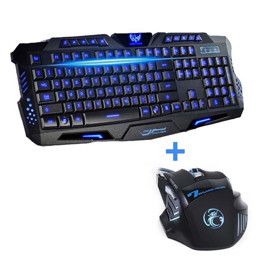 Новейшая Трехцветная проводная USB клавиатура для ноутбука с подсветкой, геймерская мышь, комбо оптическая профессиональная 7 кнопок, 5500 точек/дюйм
