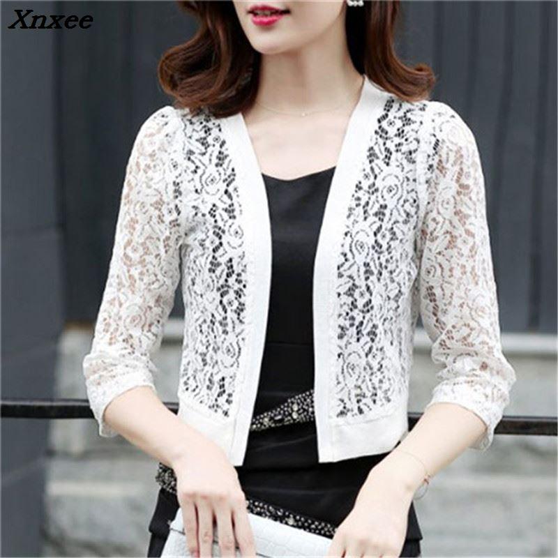Xnxee  Women Blouses Casual Kimono Korean Cardigan Shirt White Lace Crochet Blouse Plus Size Beach Shirts Summer Tops