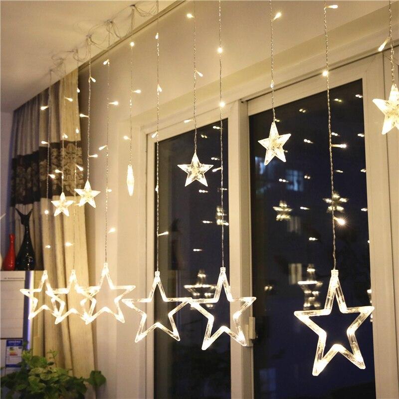 138 LED romántica Hada estrella Led cortina de luz EU Plug 220V 8 modos parpadeantes boda fiesta vacaciones decoración iluminación