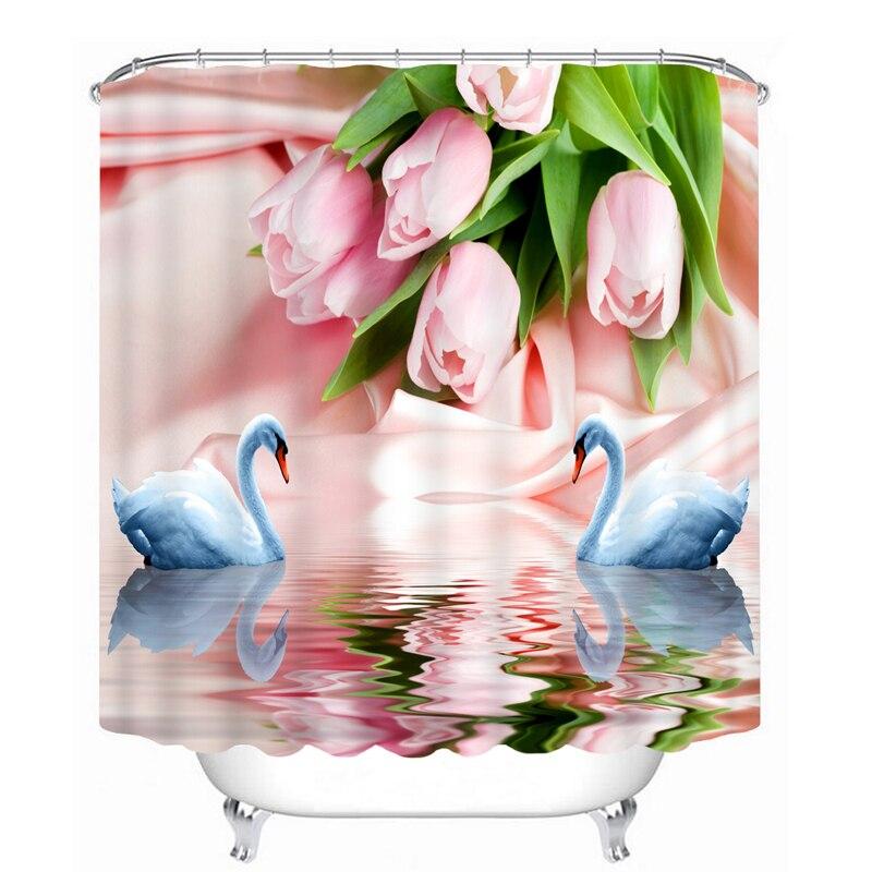 Cortinas de ducha 3D personalizadas, cortinas de baño con patrón de cisne rosa y blanco, cortinas de baño lavables impermeables, productos de baño