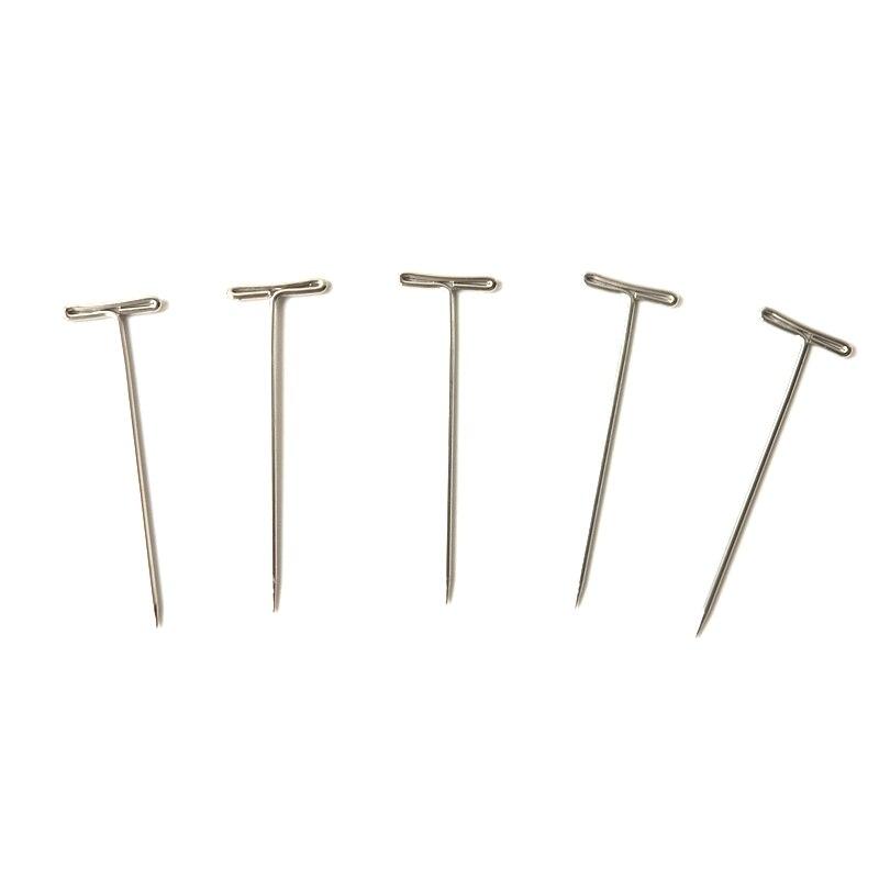 VENDA QUENTE 1000 peças T pinos para pedaço de cabelo peruca perucas em forma de T agulhas de tecelagem para Cabeça Bloco Tela de Espuma cabeça
