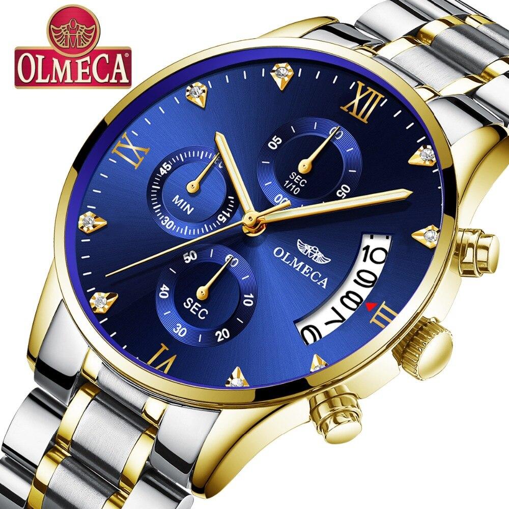 OLMECA Homens Relógios De Luxo Famosa Marca de Topo Moda Casual Vestido Relógio de Quartzo Militar dos homens Relógios de Pulso Relogio masculino Saat