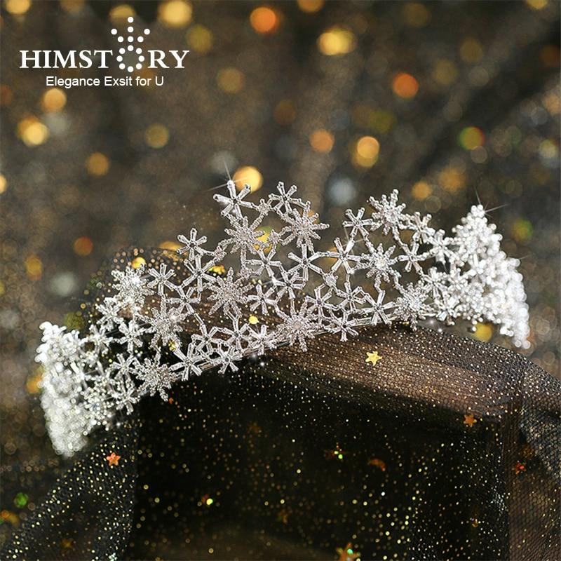Tiara de Zirconia cúbica de lujo con Micro incrustaciones, copo de nieve,...