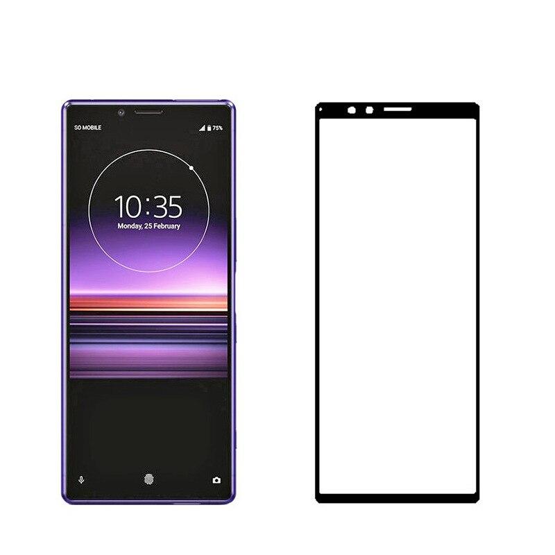 Película protectora de pantalla de pegamento completo 9H, cristal templado para Sony Xperia 1, cobertura completa, vidrio Protector a prueba de explosiones para Xperia 1