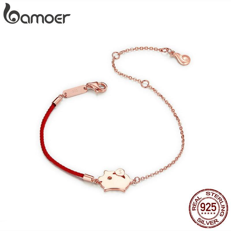 Женский браслет BAMOER Pig, красный Хлопковый Канат из стерлингового серебра 925 пробы, 12 лет, подарок на день рождения