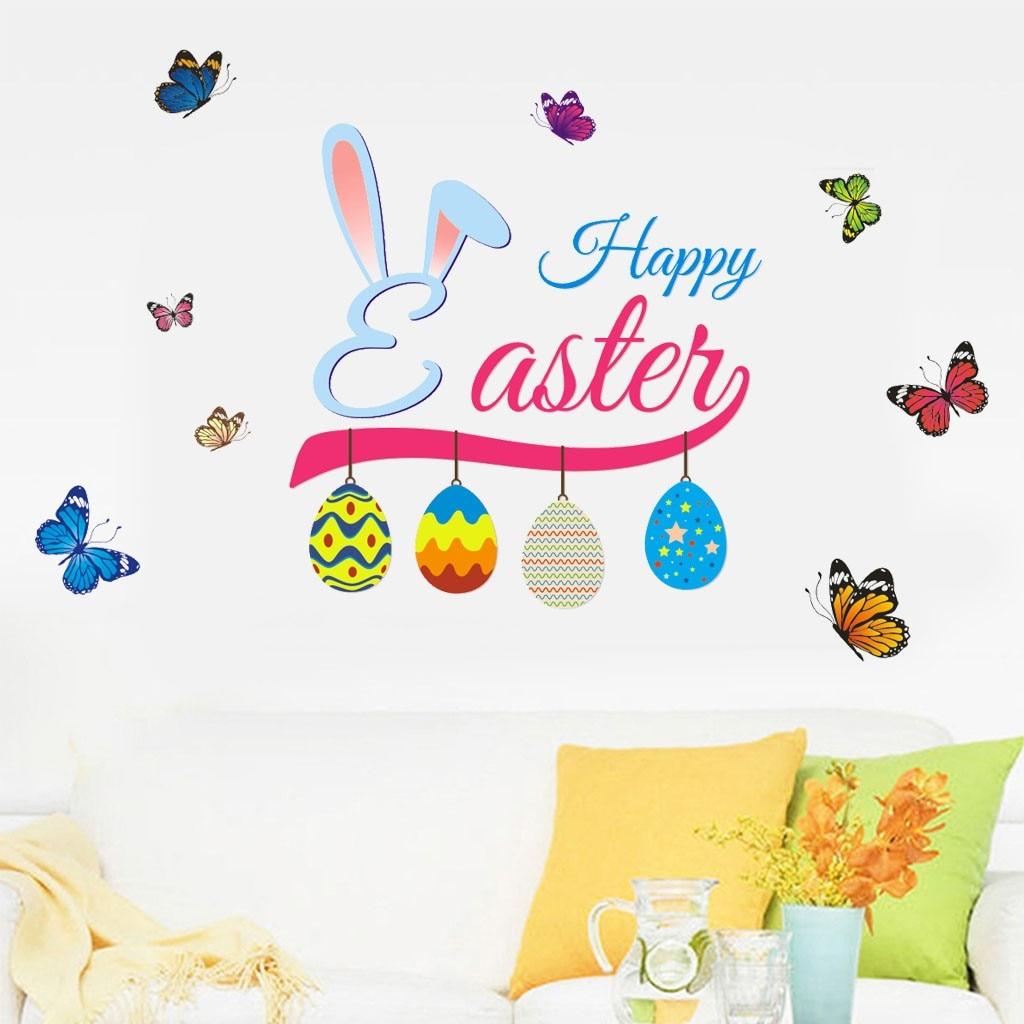 2019 Creative Happy Easter Festivsal Window Deco Cheerful Butterfly Vinyl  Art Wall Sticker DIY Celebration Home Room Decor#45