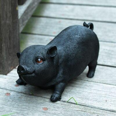 Piglet de resina grande negro cerdo modelo restaurante paisaje hotel decoración estatuas escultura hogar Decoración de la boda muere