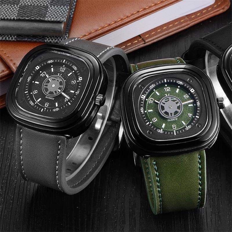 Reloj para hombre 2018, correa de cuero genuino, funda cuadrada con cara de esqueleto, nueva marca V6, relojes de muñeca deportivos militares para hombres, reloj impermeable