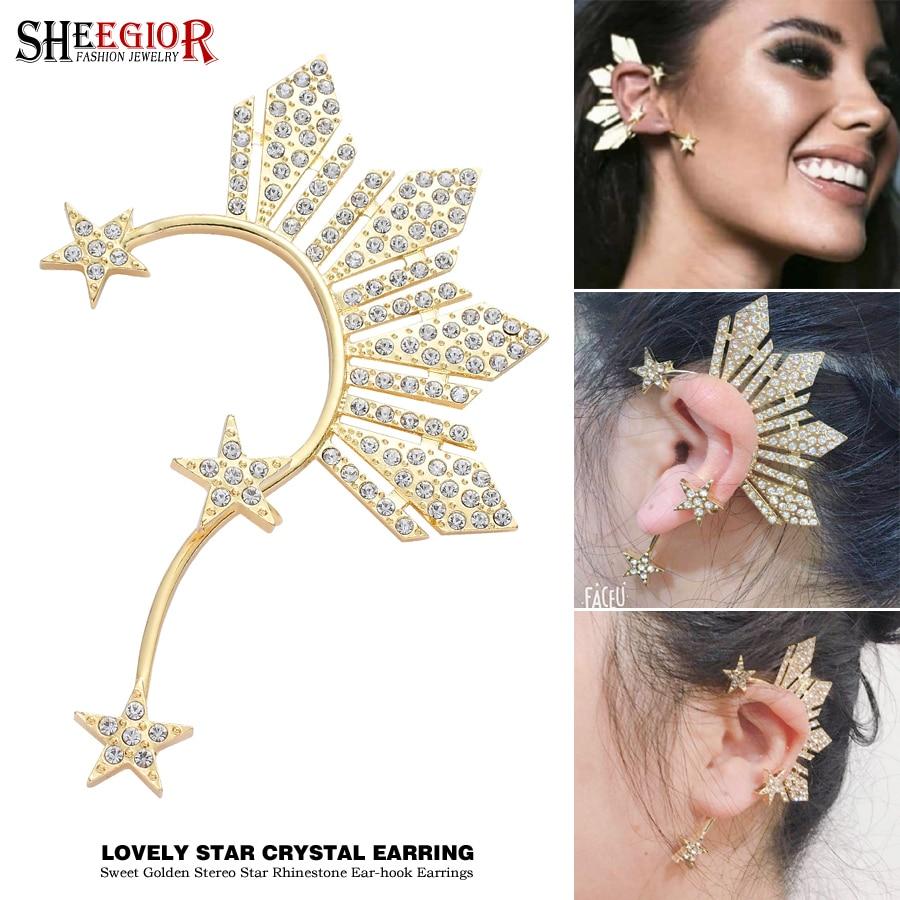 Lovely Golden Star Ear Clip on Earrings for Women Accessories Crystal Rhinestone Stars Big Ear Cuff Earring Fashion Jewelry Gift