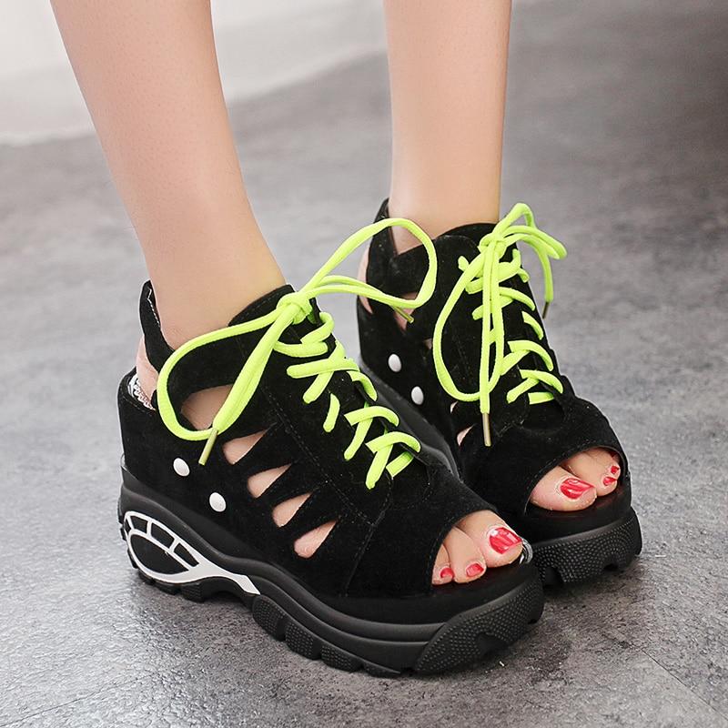 Lucyever Ladies Platform Gladiator Sandals Summer Comfortable Wedges High Heels Shoes Woman Casual Lace Up Peep Toe Footwear