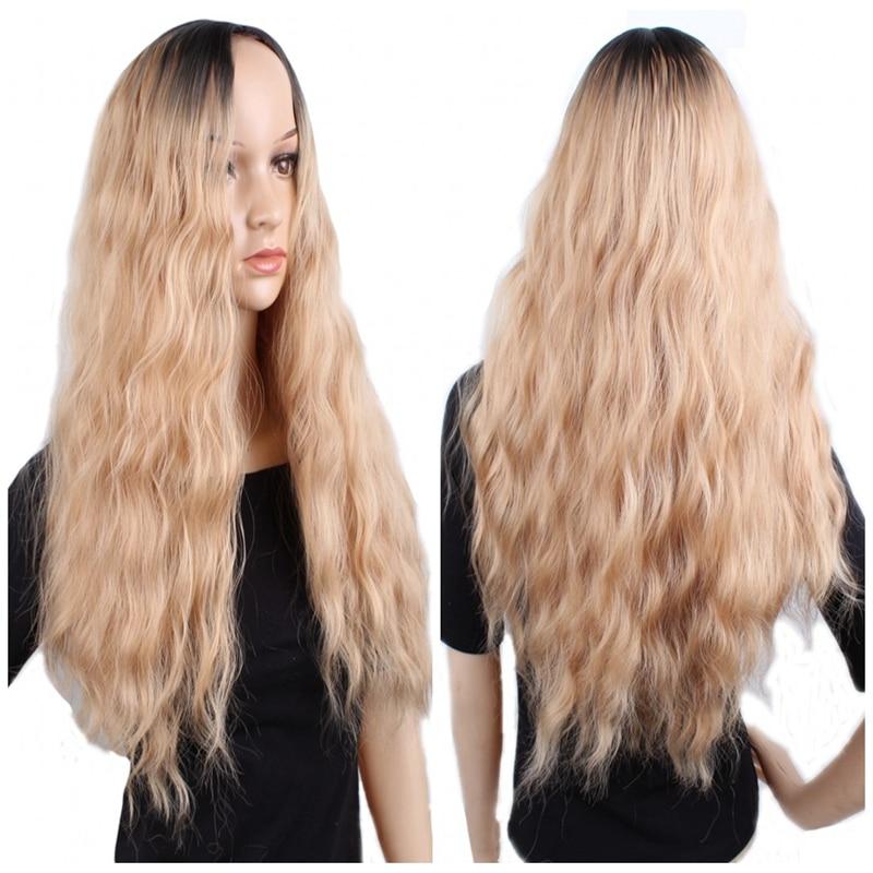 Peluca sintética JOY & BEAUTY de 28 pulgadas, peluca rubia negra Afro con degradado, peluca de mujer de fibra oscuro largo y Alta Temperatura