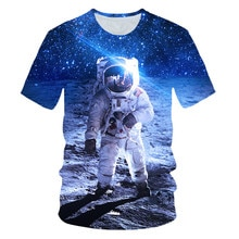 Été 2019 nouveau hommes vêtements T-shirt 3D espace astronaute imprimer T-shirt SpaceX vaisseau spatial 3D t-shirts fusée homme StarmanX hauts t-shirts