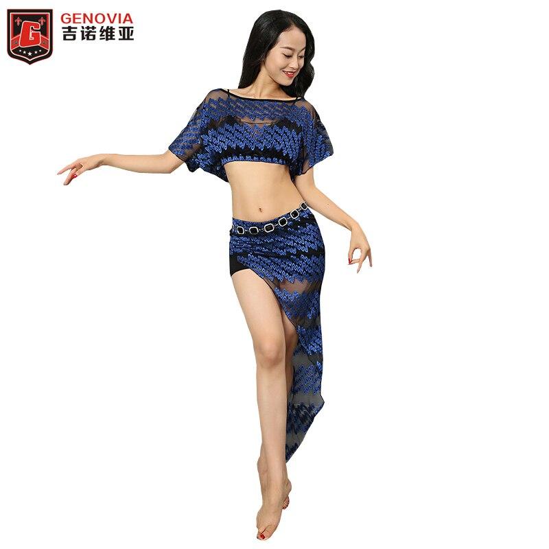New Women Belly Dance Top & Skirt Bat Sleeve Practice Elastic Net  Girls Top and Skirt Costumes