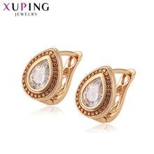 Xuping nouveau luxe plaqué or couleur boucles doreilles avec zircon cubique synthétique bijoux pour femmes cadeau S118.1-97677