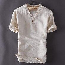 Męskie swetry lniane koszule z krótkim rękawem letnie oddychające męskie jakości koszule na co dzień Slim fit trwała bawełna koszule męskie TS-150