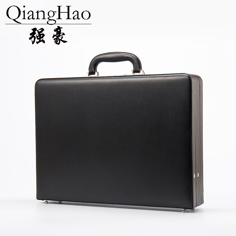 Luxury Leather Mens Attach Briefcase Expandable Laptop Case Password Multifunctional Toolbox Fashion Suitcase Black Hot