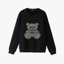 Fall 2019 Bear Toy Rhinestones print Womens Sweatshirts plus size blingbling long sleeve Winter Hoodies black Pullover Jumpers