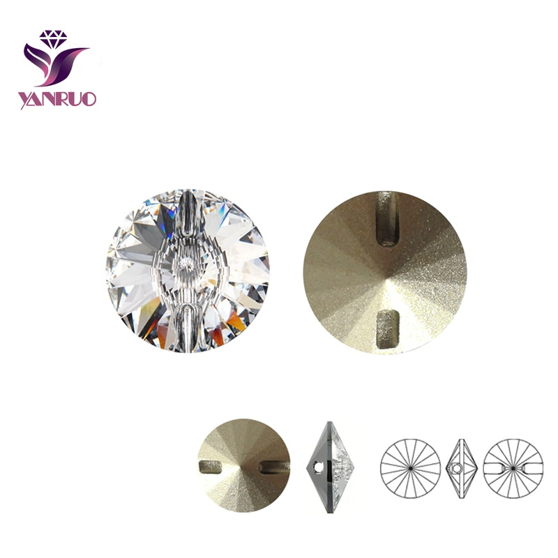 Кристально прозрачные стразы, швейные пуговицы 16 мм, 18 мм, 27 мм Rivoli, пришитые стразы, пуговицы для одежды, рукоделия, сделай сам