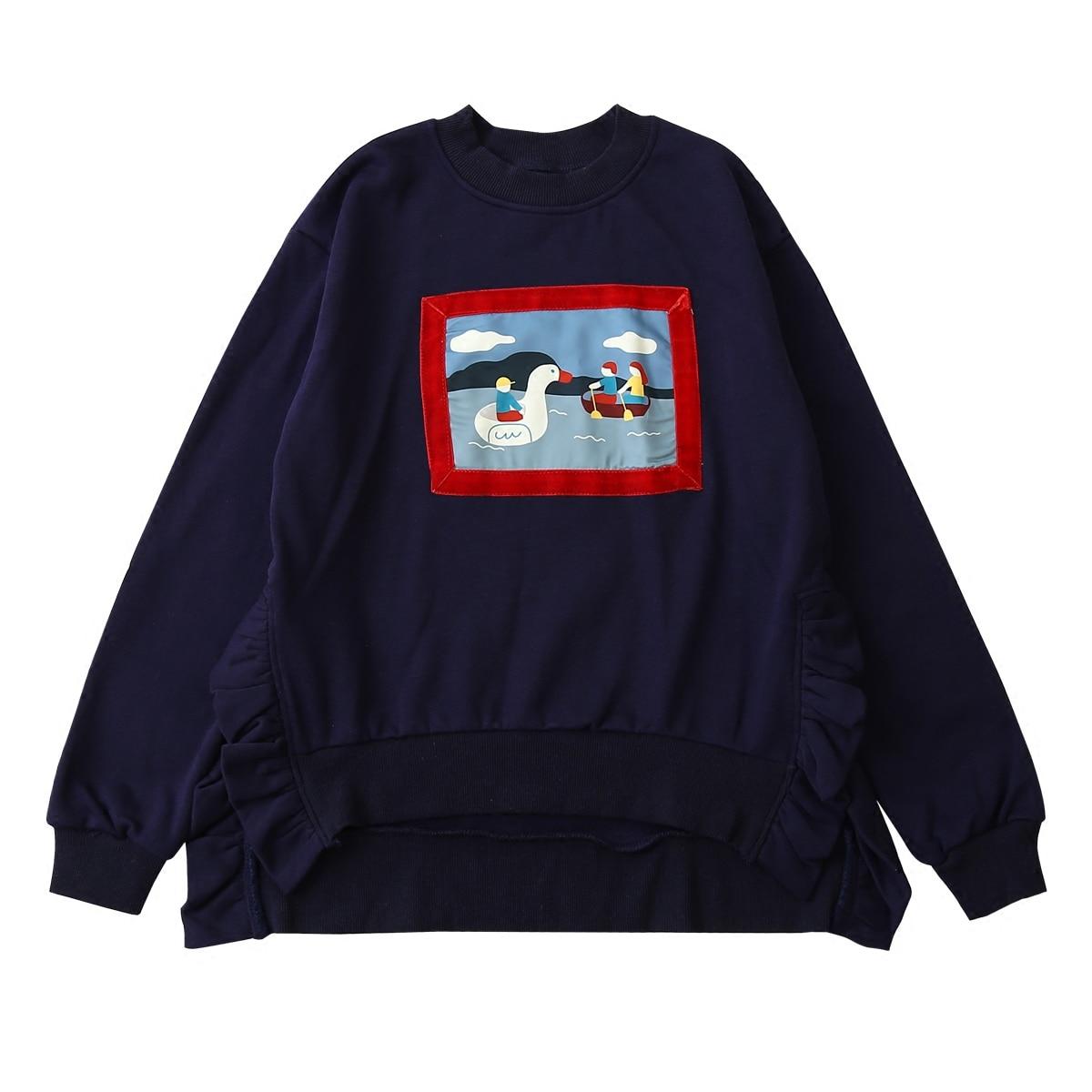Новый дизайн, весенний женский пуловер с длинным рукавом, свитшот с круглым вырезом, спортивный костюм с капюшоном, хлопковые оборки, Женский Свободный Топ