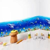 Autocollants muraux du monde sous-marin  sparadrap artistiques de la Marine  poisson  requin  dauphin  decoration de la salle de bain  de la cuisine et de la maternelle