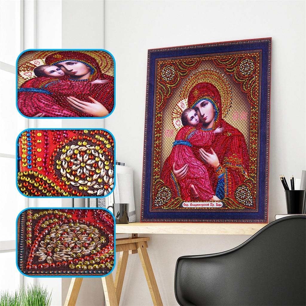 Bricolage en forme de diamant 5D   Broderie de diamant, icônes de Religion, peinture en cristal, Portrait religieux, point de croix, cadeau cousu