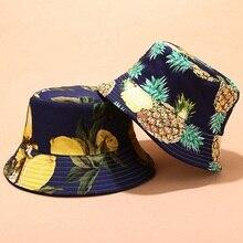 2019 Two Side Reversible Fruit Cherry bucket hat for men women fisherman hat panama bob hat summer pineapple,watermelon,Cherry