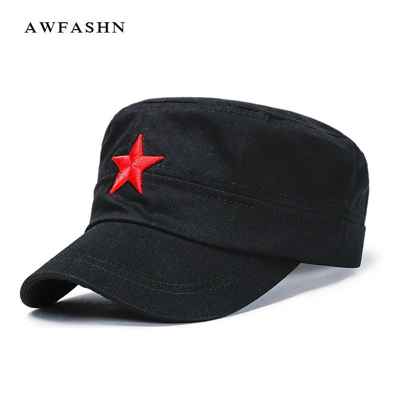 Gorra militar roja de bordado de estrellas de cinco puntas 2020, gorra plana negra, gorra de ejército de camuflaje, gorra de camionero para exteriores, color sólido, algodón hueso de papá