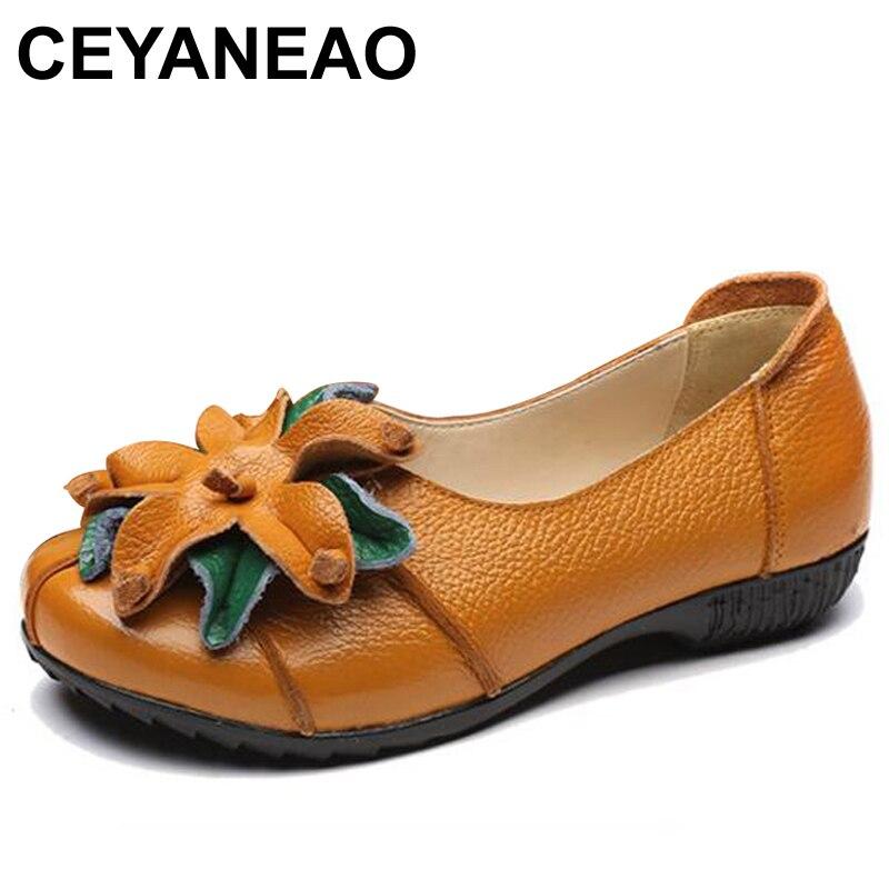 Zapatos planos CEYANEAOSummer de otoño a la moda con diseño de flores, punta redonda, Color liso, Vintage, piel auténtica, zapatos planos para mujer, mocasín para niña E1211