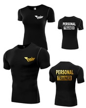 Mann frauen männlich persönliche trainer goldene print Körper building Slim Cut engen Fitness T-Shirt Top