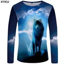 KYKU Brand Wolf T shirt Men Long sleeve shirt Vintage Rock Black Funny T shirts Terror Punk Animal Japan 3d T-shirt