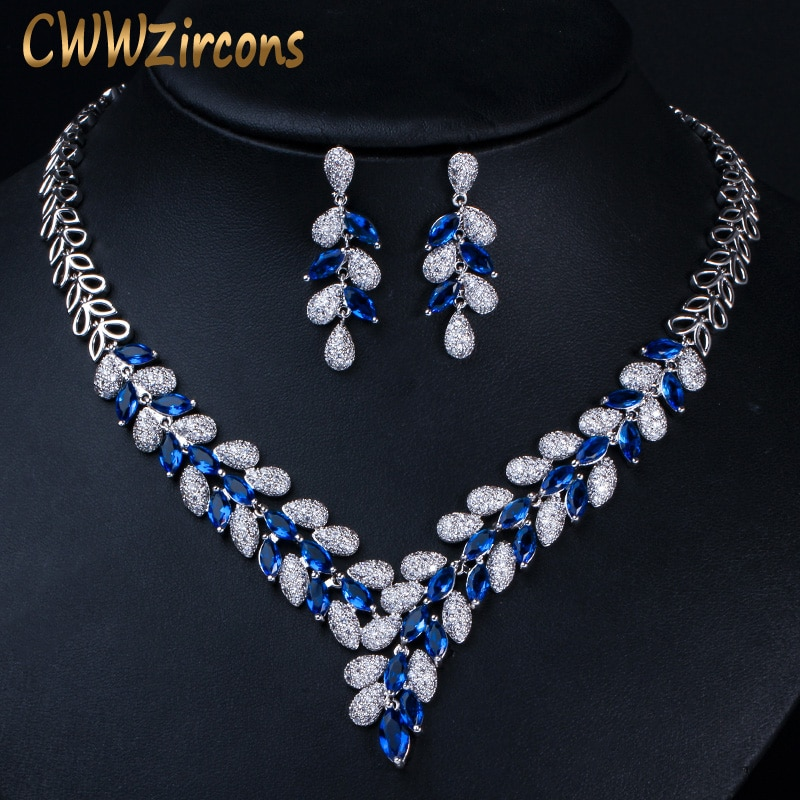 CWWZircons-طقم مجوهرات فاخر مكون من قلادة وأقراط ، لون ذهبي أبيض ، أزرق ملكي ، زركونيا مكعبة ، إكسسوارات لفستان الزفاف ، T315