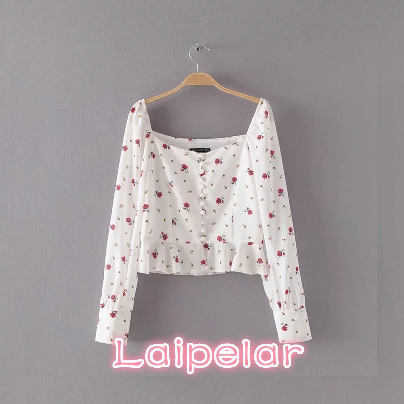 Summer womens tops and blouse boho white cherry floral print shirt blusas mujer  Sexy crop top ruffles chiffon blouses
