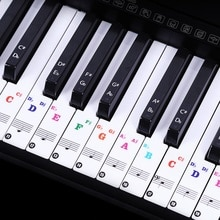88/61 키 피아노 편지 노트 스티커 키보드 핸드 롤 피아노 키보드 투명 스티커 표기법 투명