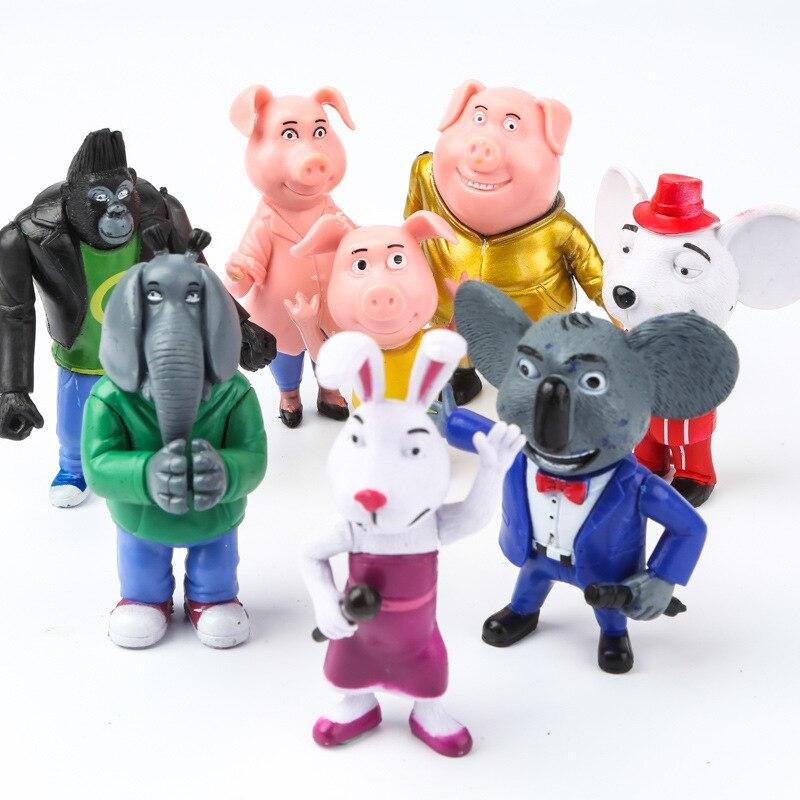 8 unids/lote de dibujos animados de la película Sing figura de acción juguetes de la luna de juego de juguetes de la luna de acción de Superman Anime Modle muñecas de juguete para niños regalos de cumpleaños 7-10cm