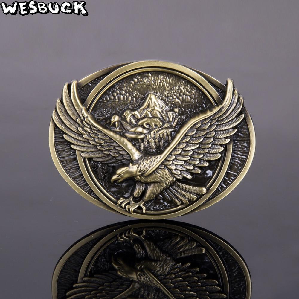 Hebilla de cinturón estilo vaquero del oeste marca WesBuck con hebilla ovalada de Metal de águila hebillas de moda para hombres