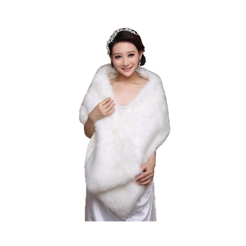 Imagen Real barato de la boda envuelve blanco largo de piel sintética envolver Bolero abrigo nupcial chal chaqueta vestidos de novia invierno otoño primavera
