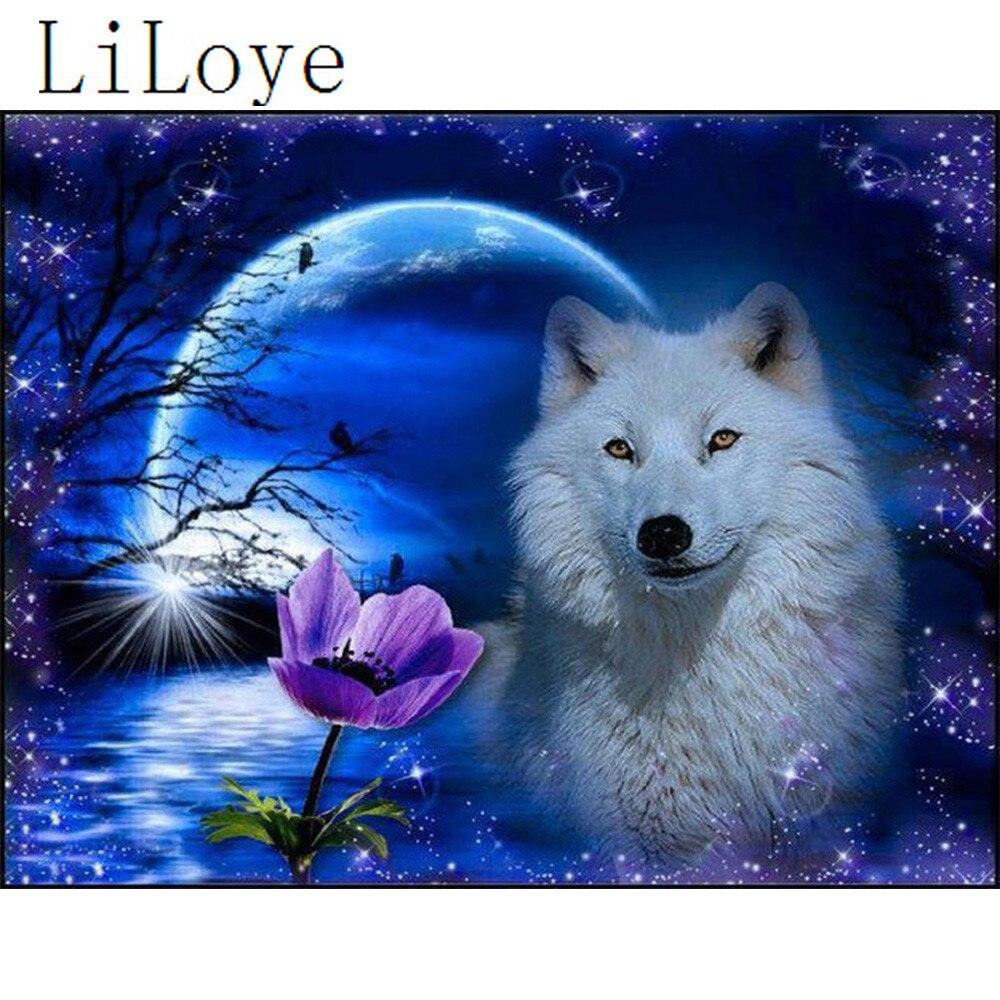 LI LOYE 5D Icoon Diamant Borduurwerk Maan bloem wolf Diamant Schilderen Kruissteek Steentjes Mozaïek Sticker Decor schilderen Q947