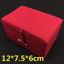 Boîte-cadeau rectangulaire en lin doux 2 pièces/lot   Coffret de décoration pour cadeau de noël, cadeau de mariage en coton haut de gamme