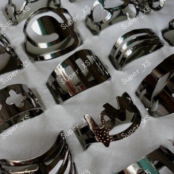 خواتم من سبائك الحديد والتيتانيوم الأسود للرجال والنساء ، عبوة مجوهرات بالجملة ، 300 قطعة ، شحن مجاني