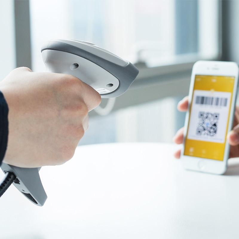 Scanner de código de barras Scanner de Código QR Handheld Wired One-Dimensional Imagem Supermercado Scanner de Alto Desempenho CMOS deli 14883