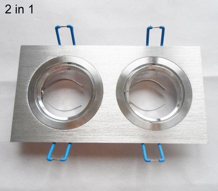 DHL 50 * doble llevó abajo la Lámpara 2 en 1 marco de soporte de borde para MR16 ala para GU10 de aluminio accesorios de copa de lámpara cuadrada de plata