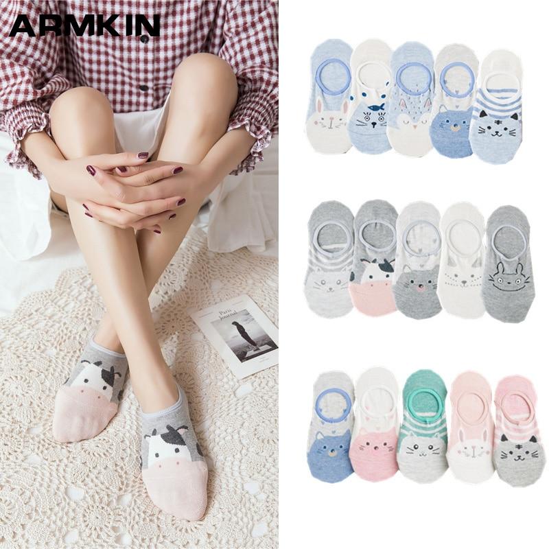 ARMKIN 5 Pairs/Lot Korea Style Casual Women Socks Cartoon Animal Ankle Socks Cotton Kawaii Cute Socks Girl's Invisible socks