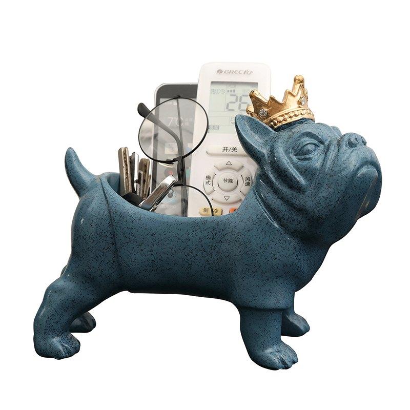 Bulldog Figurines Key Organizer Animals Storage Box Resin Art&Craft Home Decoration Accessories For Living Room R761