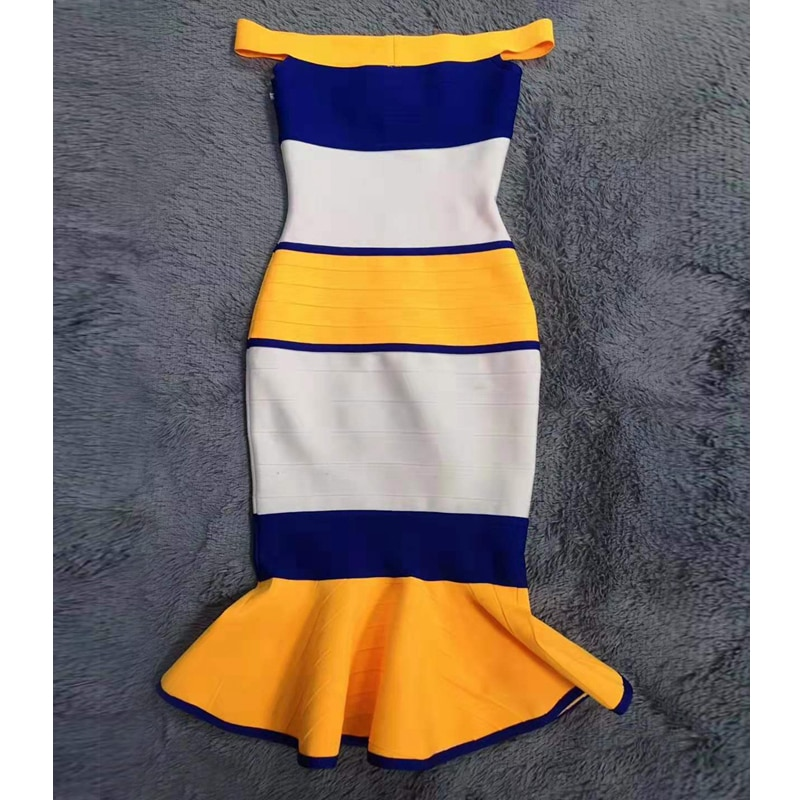 High Quality 2019 Elegant Stripe Mermaid Off Shoulder Summer Dresses Women Celebrity Party Sexy Backless Bodycon Dress Vestidos