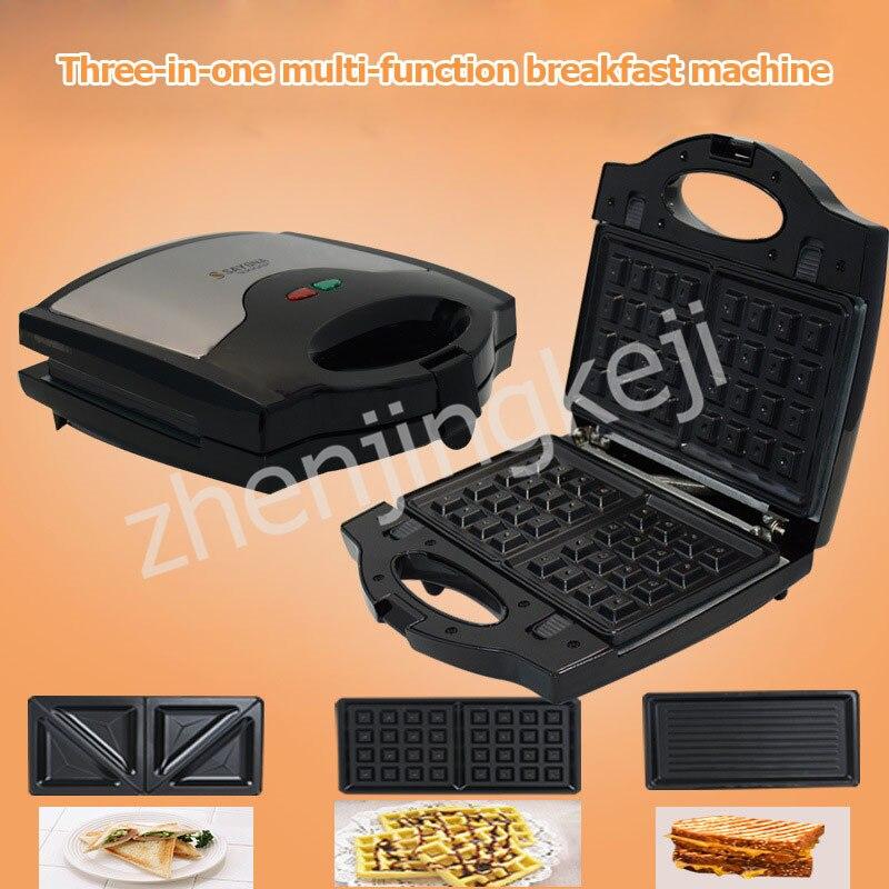 Hogar 3 en 1 sandwichera Panini máquina de desayuno máquina Waffle tostadora tres juegos de bandeja de hornear