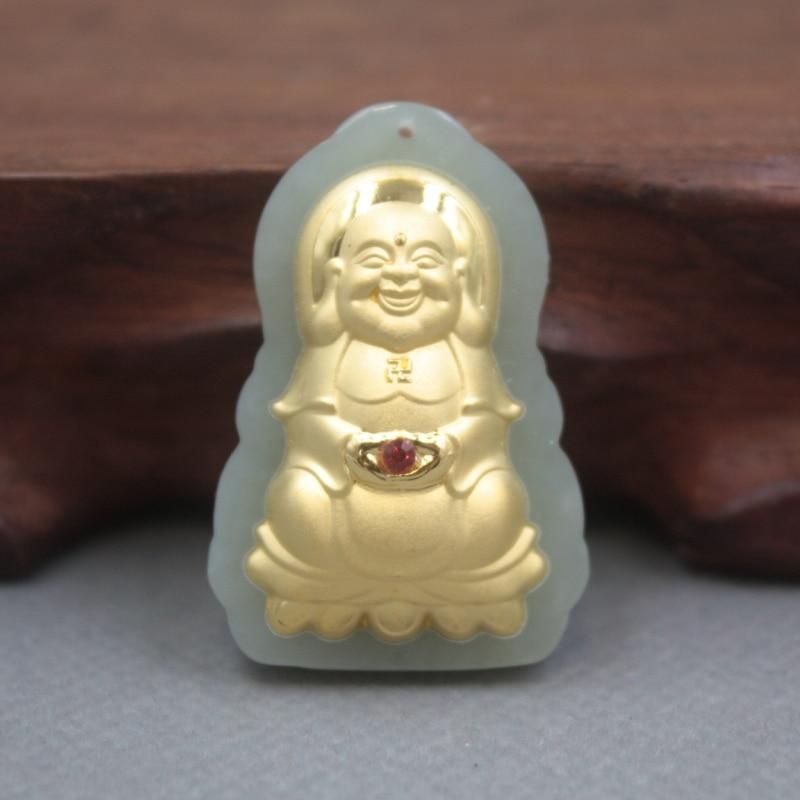 Nuevo 24K oro amarillo de jadeíta natural Jade mujeres hombres Kwan-Yin colgante de bendición 36x24mm