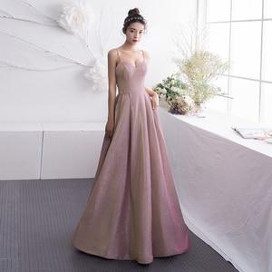New 2021 Fashion Women Banquet Party Dress Sweetheart Sleeveless Korea Long Slim Aline Backless Spaghetti Strap Prom Gown
