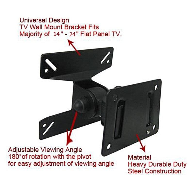 Universel 180 degrés tourné SPHC TV montage mural 14-24 pouces LCD LED Falt panneau Plasma pivotant TV support support support