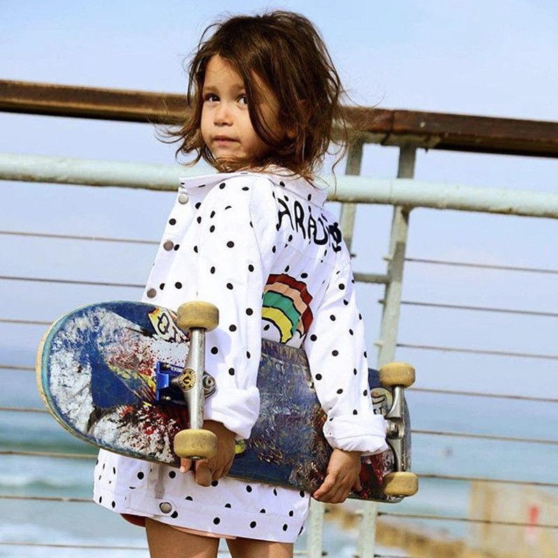 Toddler Kids Polka Dot Cotton Long Sleeve Jacket Buttons Up Coat Outerwear